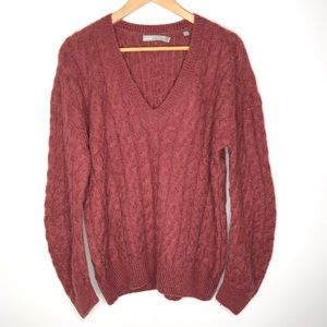 Vince Sweater Cable Knit Classic V Neck Alpaca